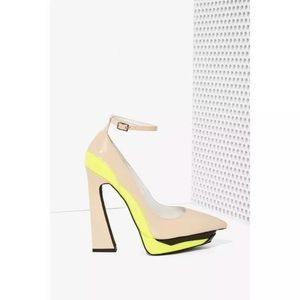 Jeffrey Campbell power cut patent heels pointed